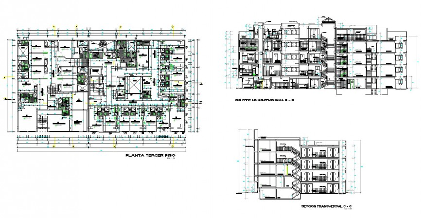 Plan and section house working plan detail dwg file