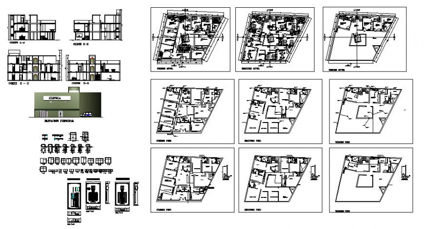 Plan and Section lab collage plan autocad file