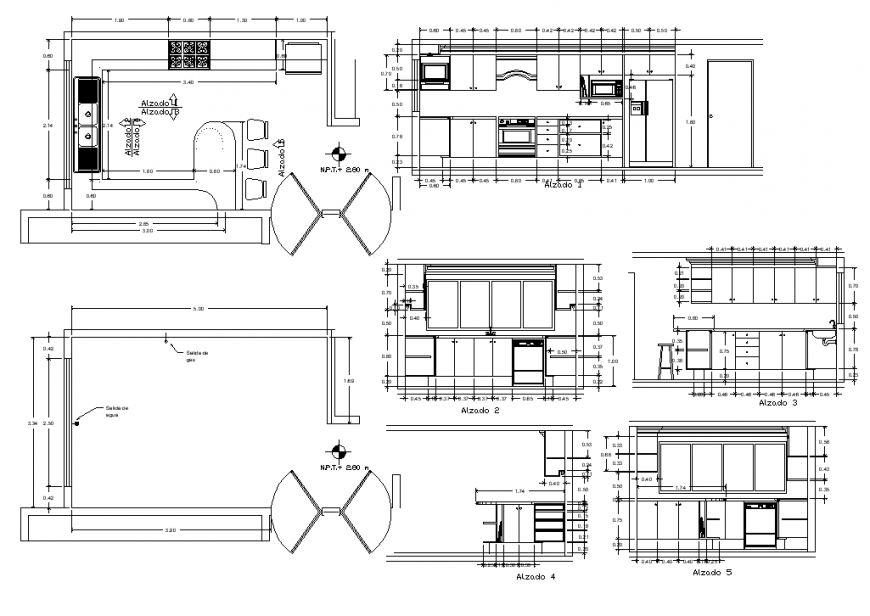 Plan and section of kitchen structure layout file in autocad format