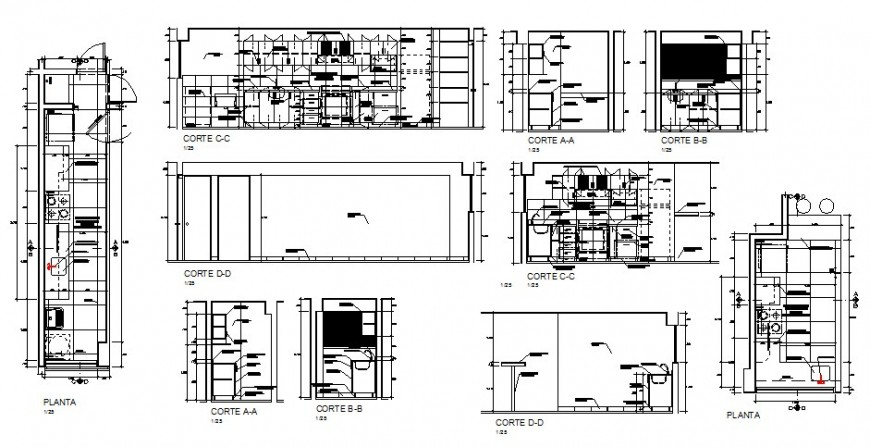 Plan and section of the kitchen layout 2d view autocad file
