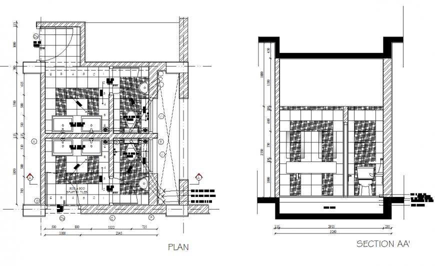 Plan and section toilet shopping centre detail dwg file