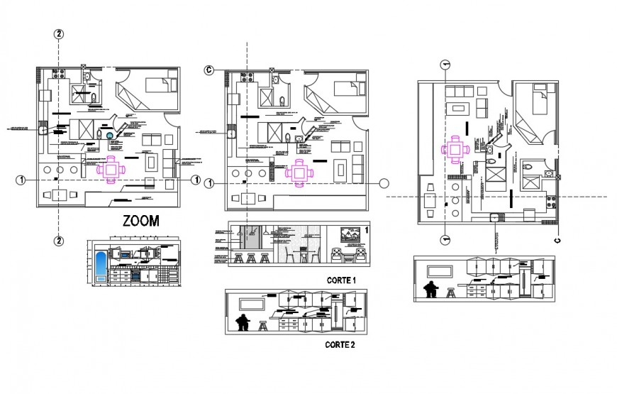 Plan and sectional detail of house 2d view CAD block autocad file