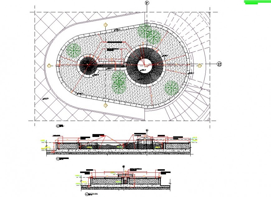 Plan and sectional detail of fountain design CAD block layout autocad file