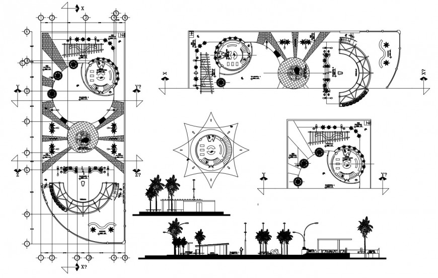 Plan and sectional detail of garden with automation units autocad file