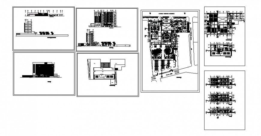 Plan and sectional detail of high rise building 2d view layout file in autocad format