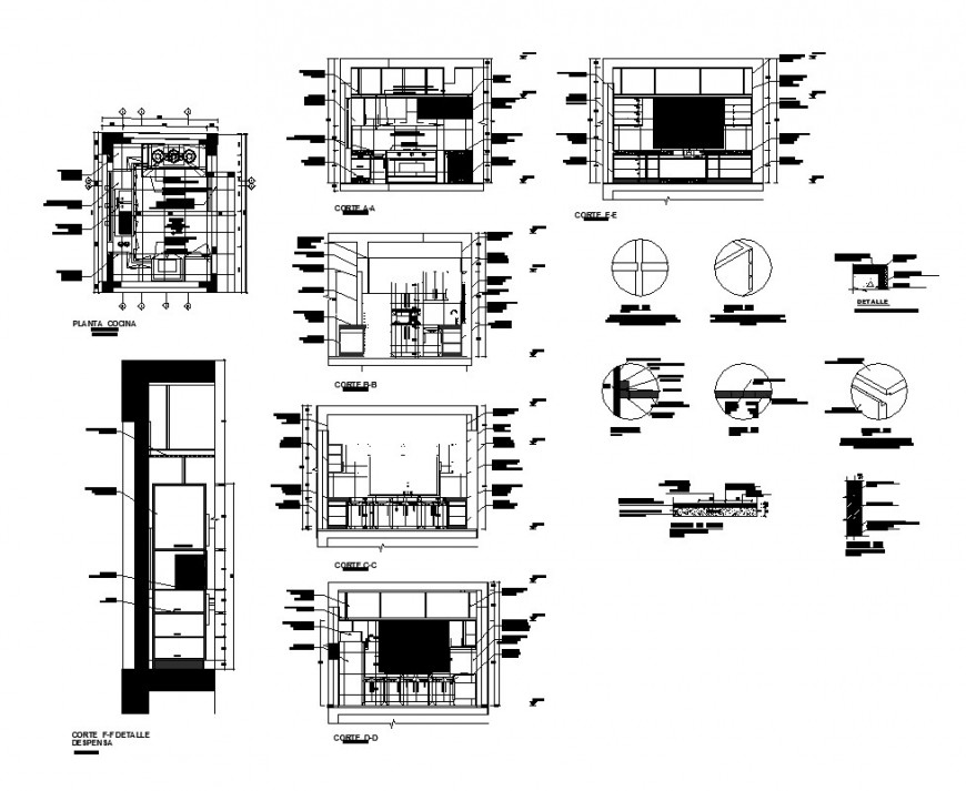 Plan and sectional detail of kitchen 2d view CAD structure layout autocad file