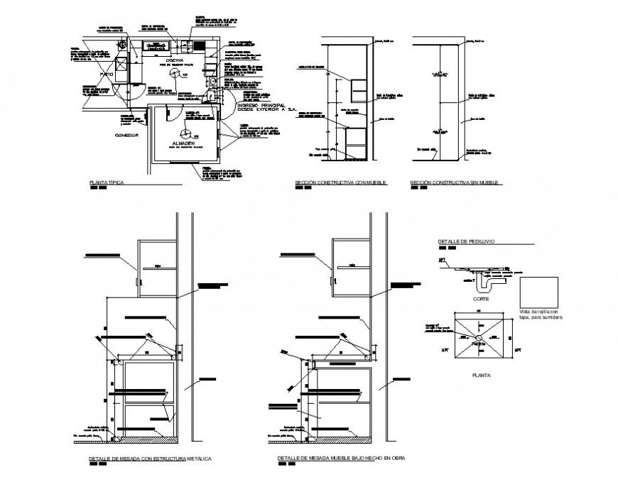 Plan and sectional detail of kitchen CAD structure layout autocad file