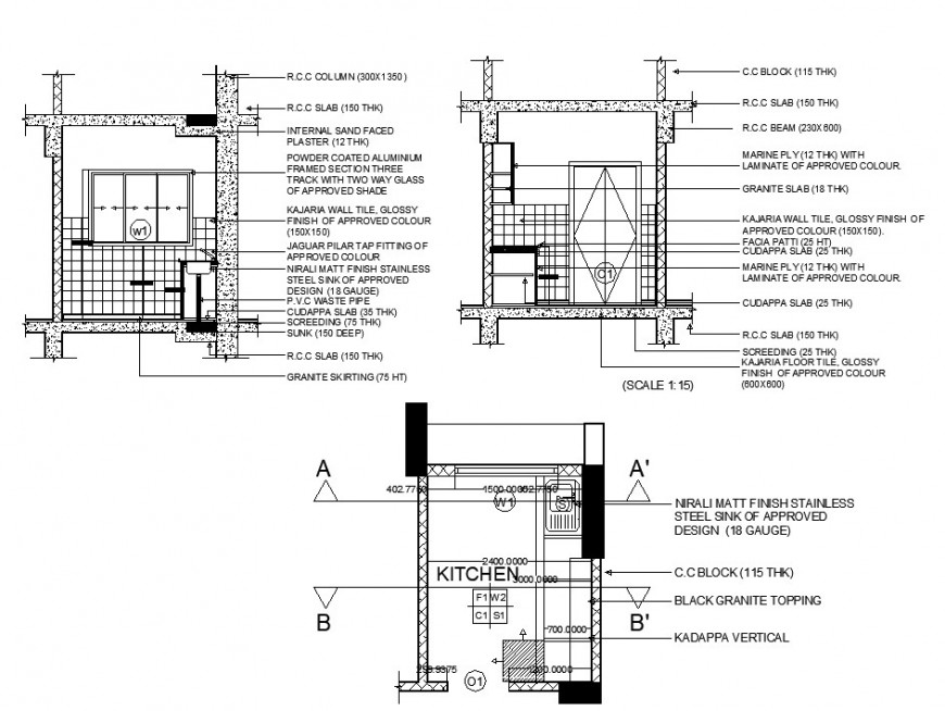 Plan and sectional detail of kitchen structure 2d view layout file in autocad format