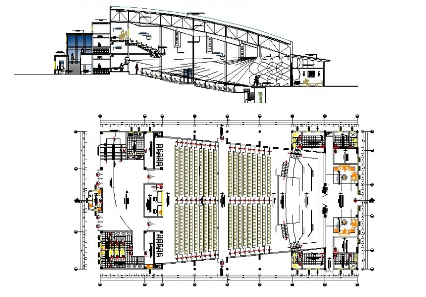 Plan and sectional detail of multiplex theater building block detail 2d view layout file in dwg format