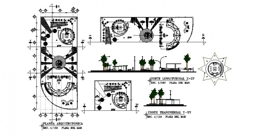 Plan and sectional detail of public park detail 2d view layout file in autocad format