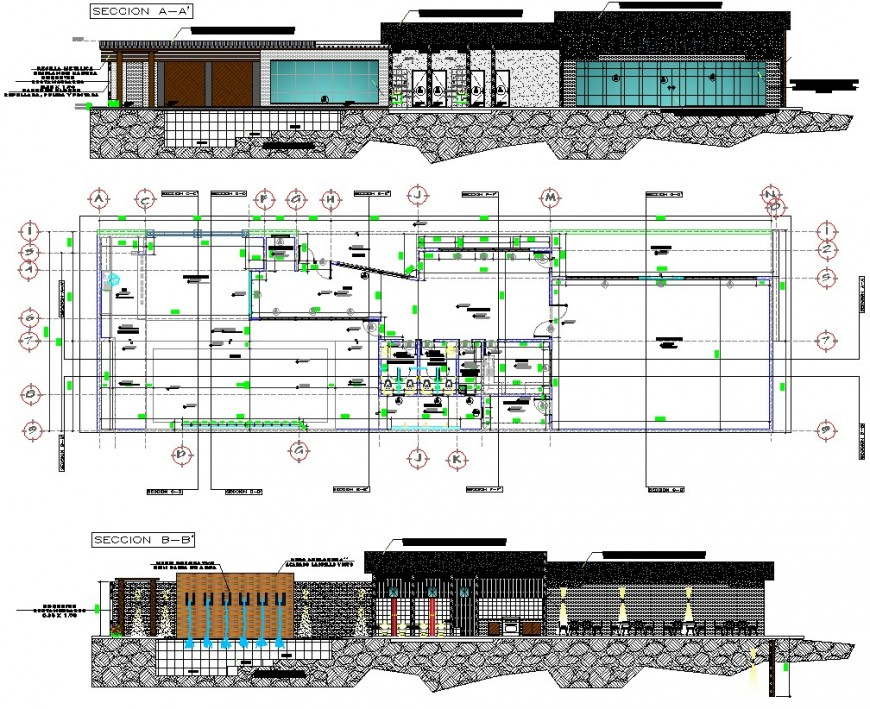 Plan and sectional detail of restaurant building Autocad file