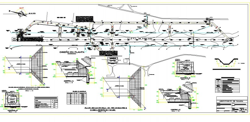 Plan and sectional detail of runway of airport 2d view layout autocad file