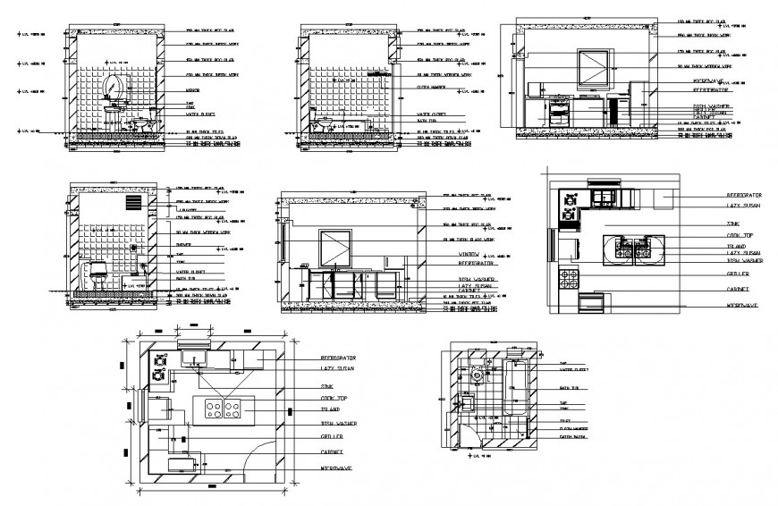 Plan and sectional detail of sanitary toilet and kitchen 2d view layout CAD structure autocad file