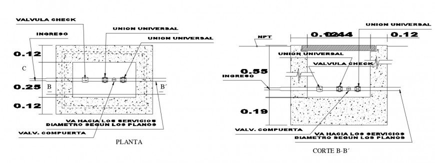 Plan and sectional drawings detailing of plumbing blocks dwg file