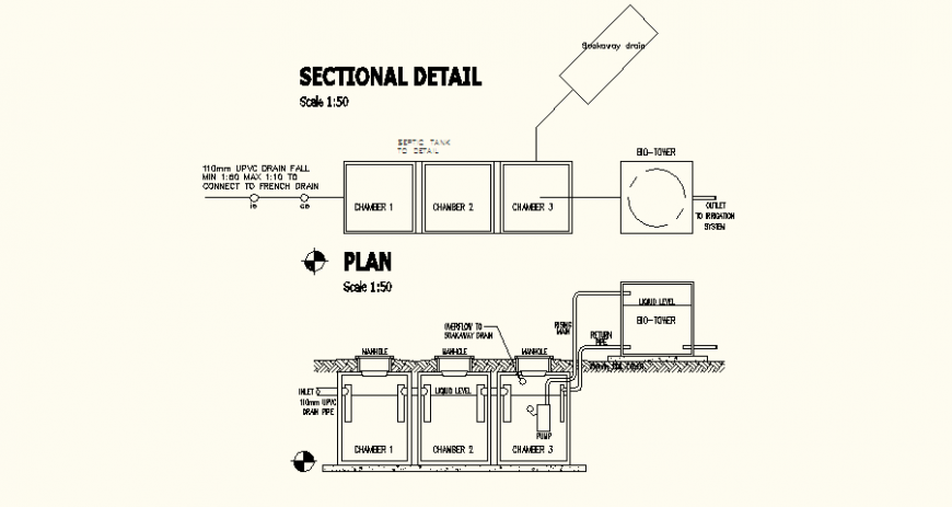 Plan and sectional with detail of French drain single line with chamber design dwg file