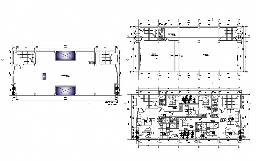 Plan and terrace area plan of hotel in autocad file