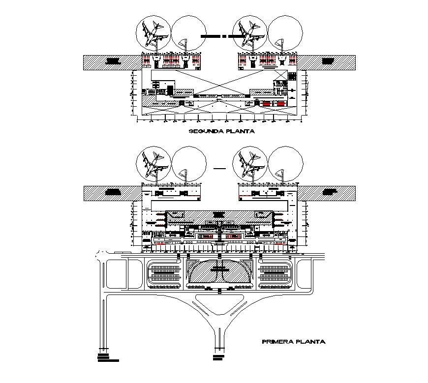 Plan detail of airport structure 2d view CAD structural block layout file in dwg format