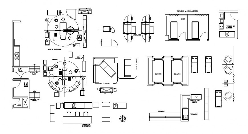 Plan detail of furniture units and appliances 2d view dwg file