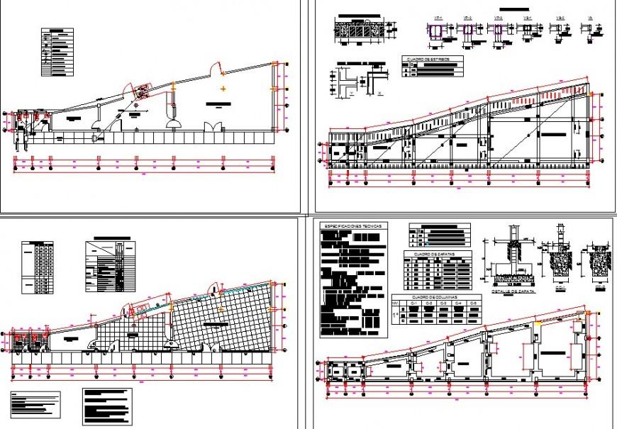 Plan detail of restaurant building structure 2d view CAD construction block layout autocad file