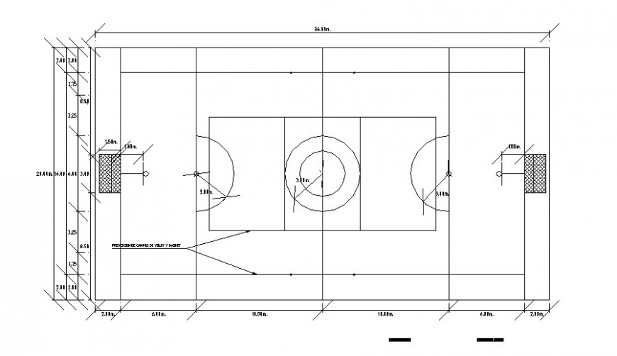 Plan detail of sports playground detail 2d view CAD block layout file in autocad format