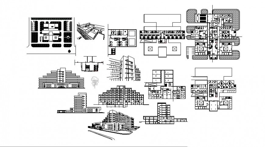 Plan elevation and isometric view of hospital in auto cad software