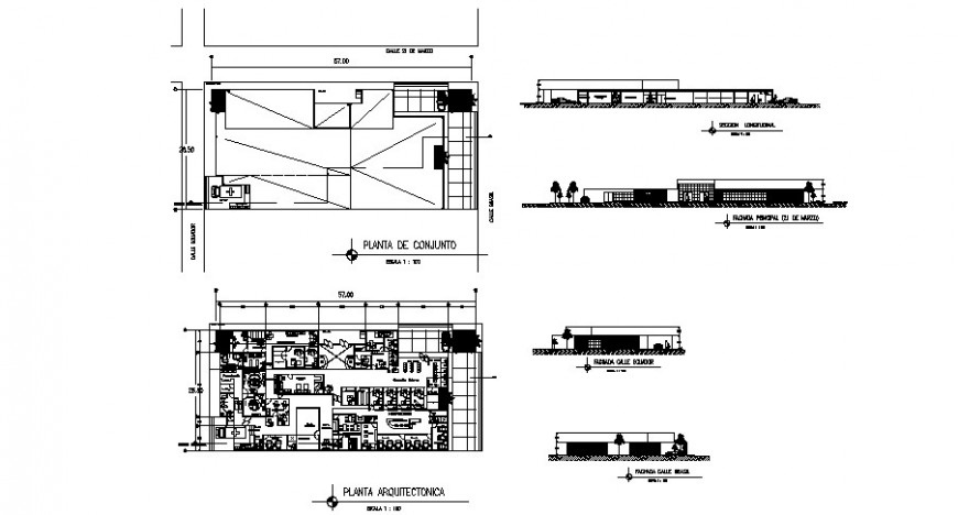 Plan elevation and section view of clinic in auto cad
