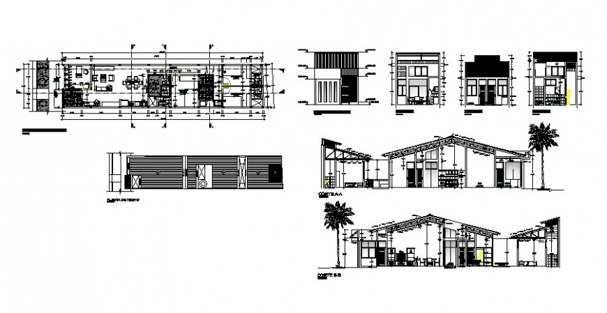 Plan elevation and sectional details of residential house 2d view autocad file