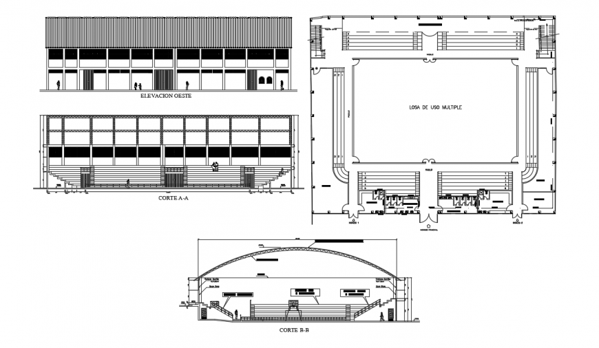 Plan elevation and sectional details of sports ground autocad file