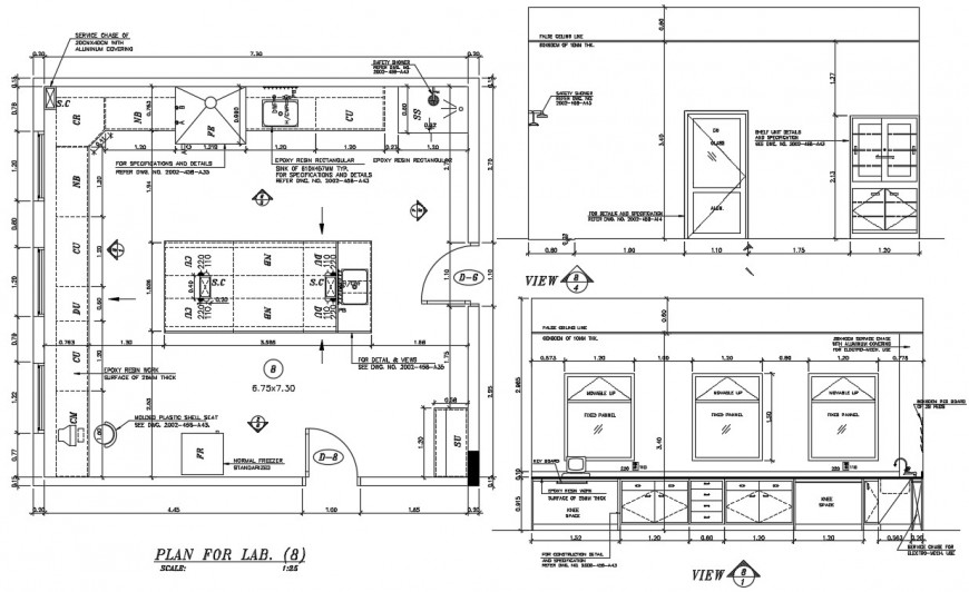 Plan for lab elevation AutoCAD file