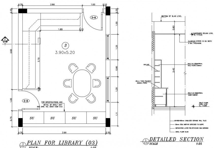 Plan for library and section plan AutoCAD file