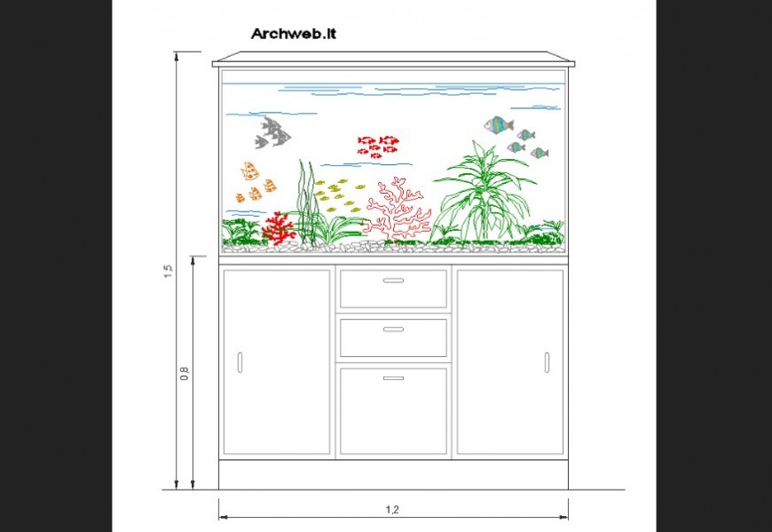 Plan of a fish tank detail dwg file.