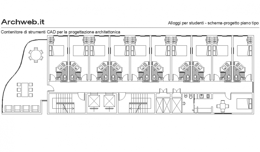 Plan of a youth housing detail dwg file.