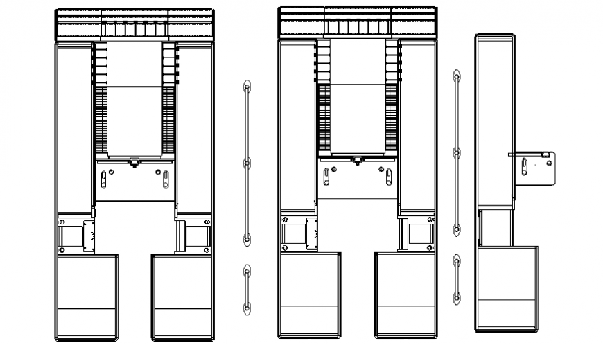 Plan of cash desk with part of corporate area dwg file