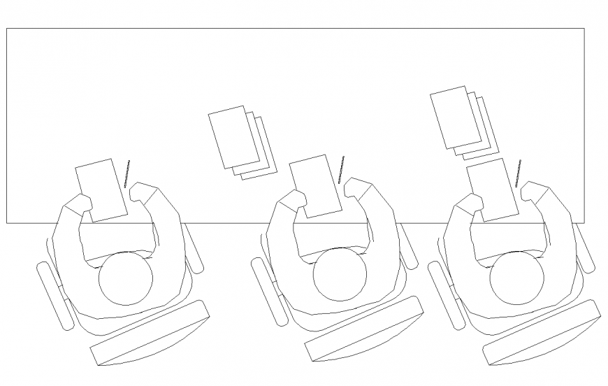 Plan of chair and table design with seating person detail dwg file