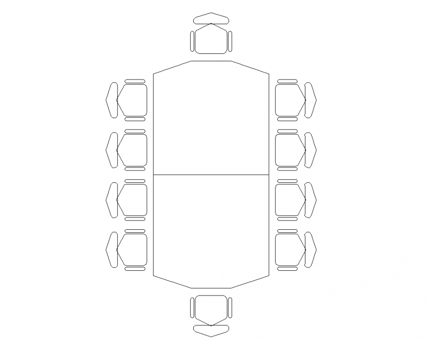 Plan of dining table with chair design view dwg file