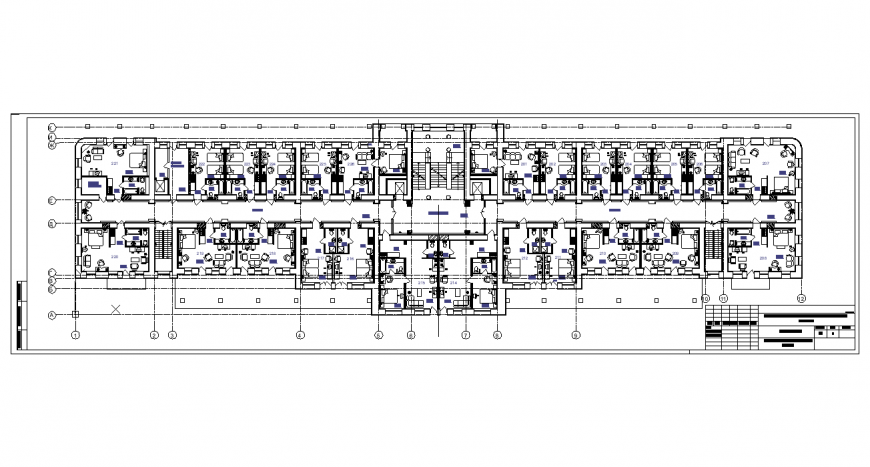 Plan of hotel with architecture design dwg file