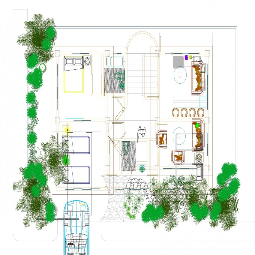 Plan of house in dwg file.