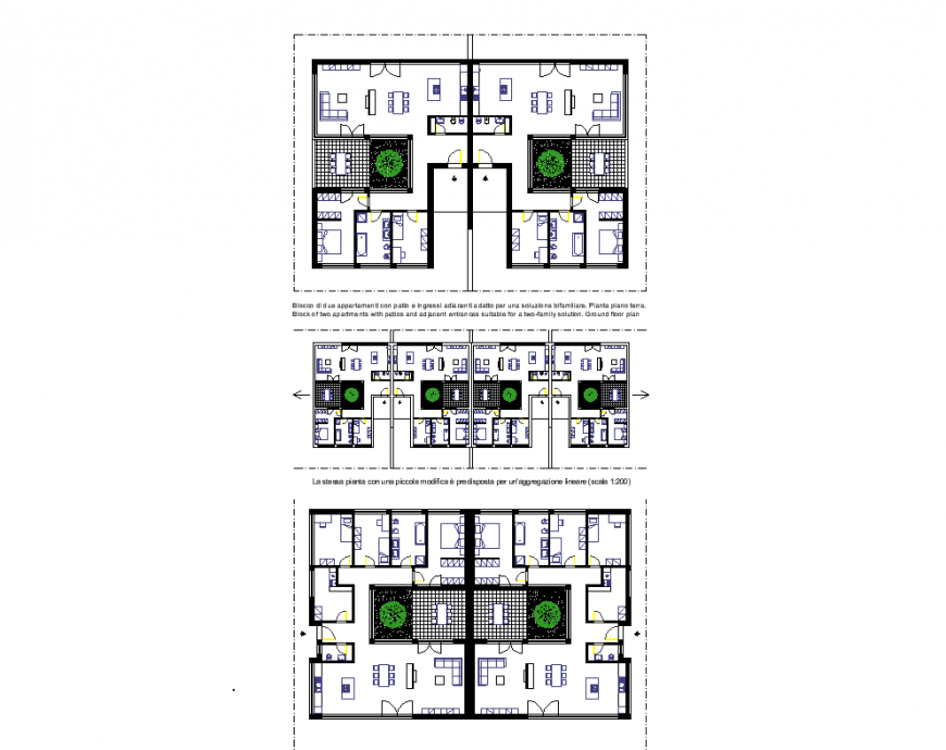 Plan of house with different view dwg file