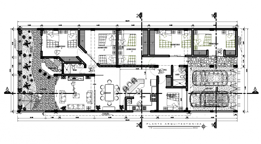 Plan of housing area with architectural detail dwg file