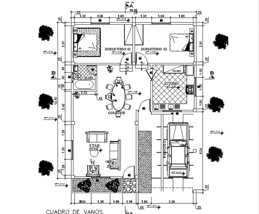 Plan of housing structure 2d view layout CAD structure pdf file