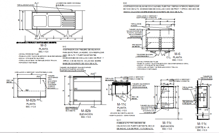 Plan of kitchen furniture with detail in auto cad file