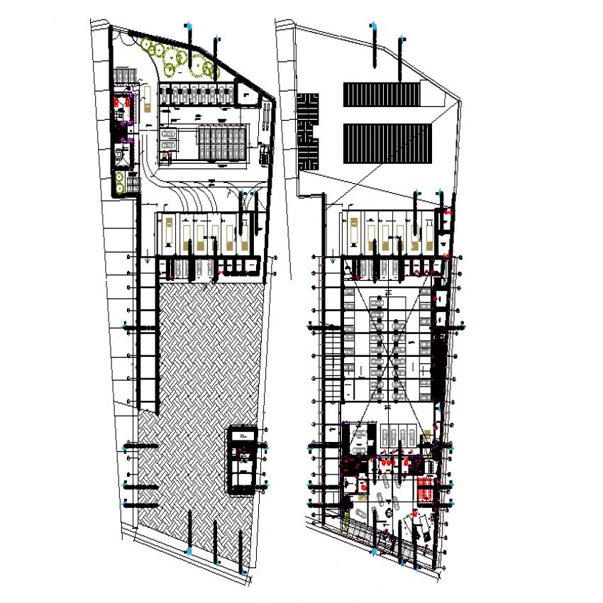 Plan of new car dealer plan detail dwg file.