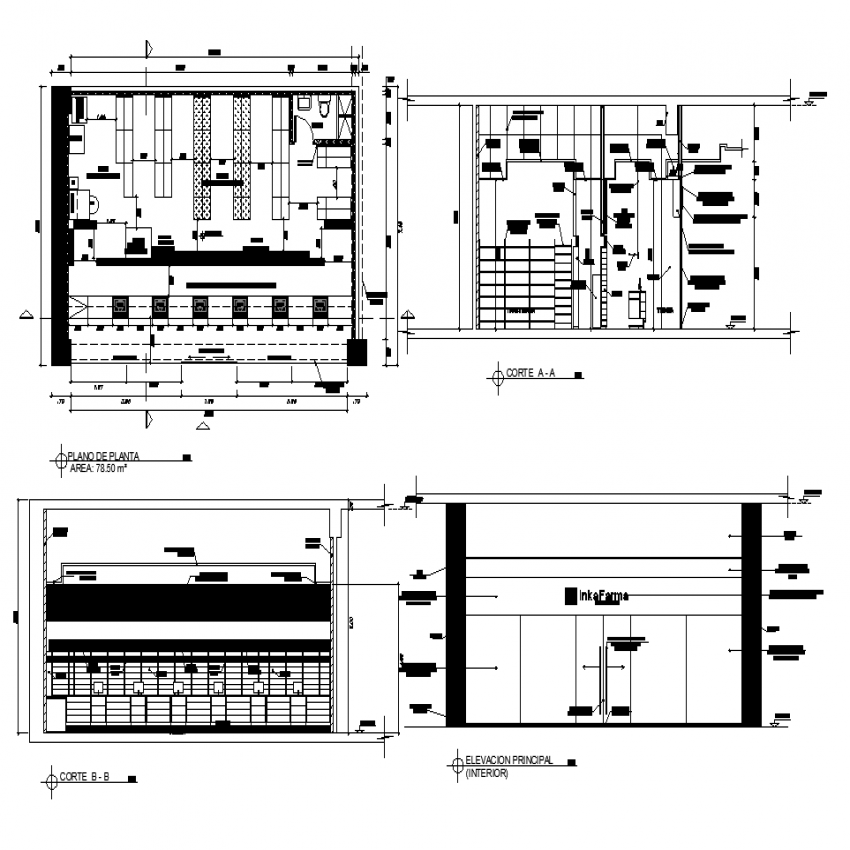 Plan of pharmacy with detail dwg file.