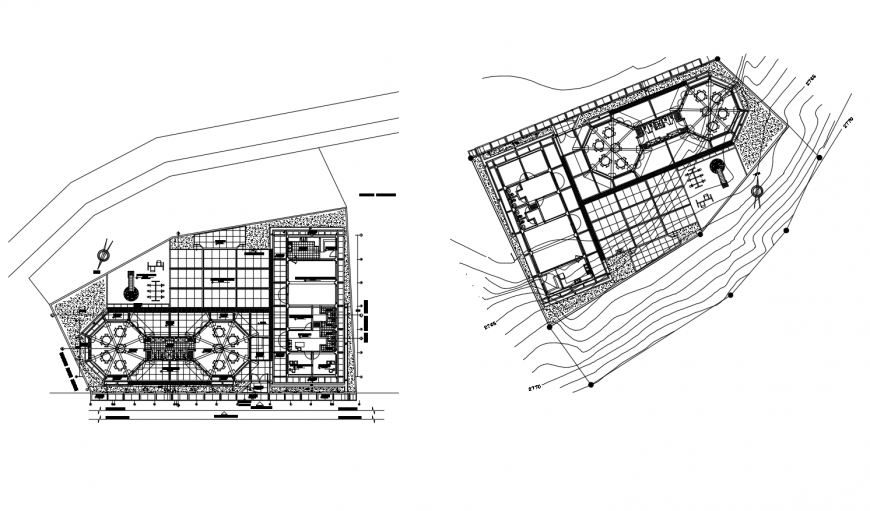 Plan of restaurant building drawing in dwg format
