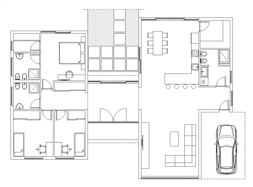 Plan of villa with architecture part dwg file