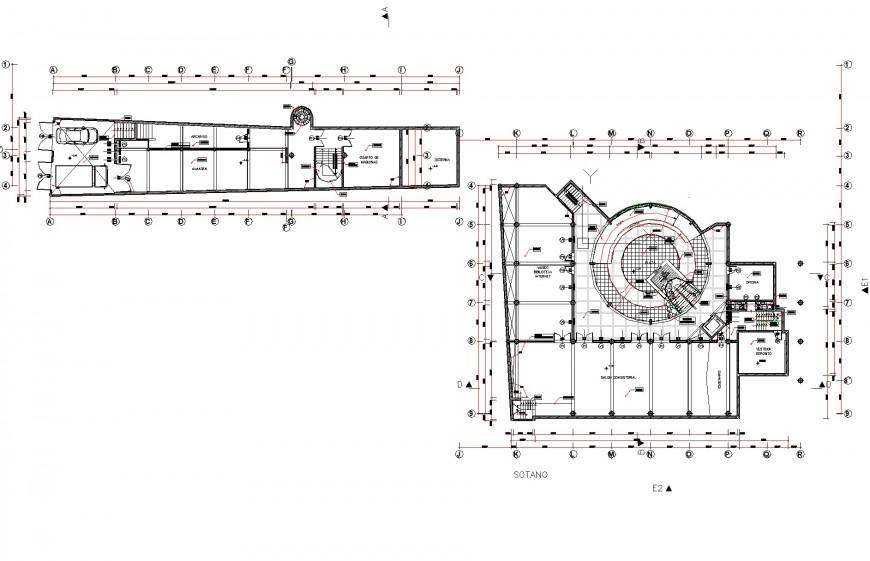 Plan office building detail dwg file