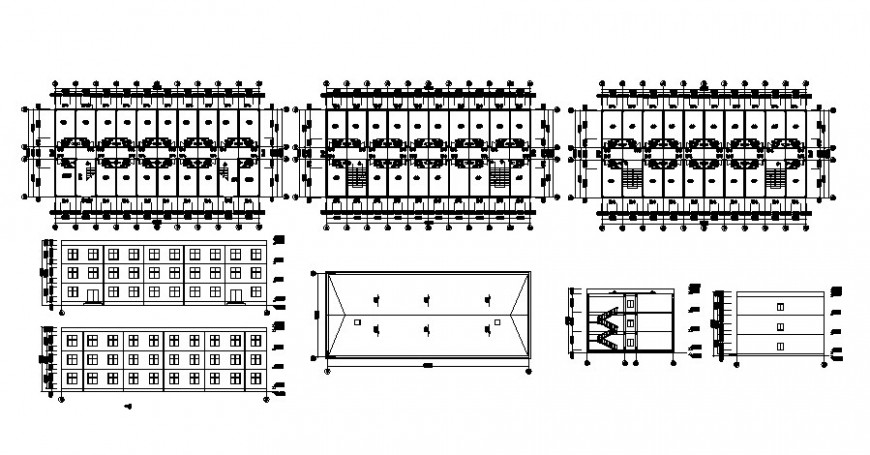 Plan section and elevation of building drawing in autocad
