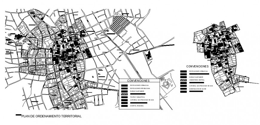 Plan territorial management-sincelejo town planning cad drawing details dwg file