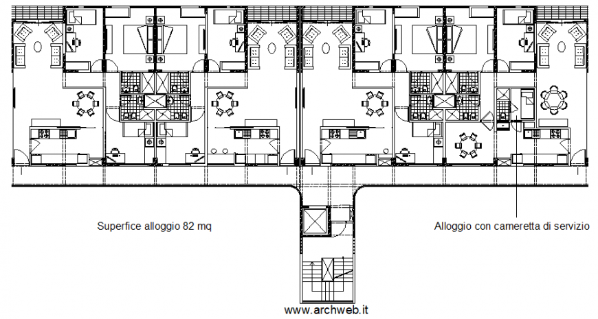 Plan with a residential area with architectural part dwg file
