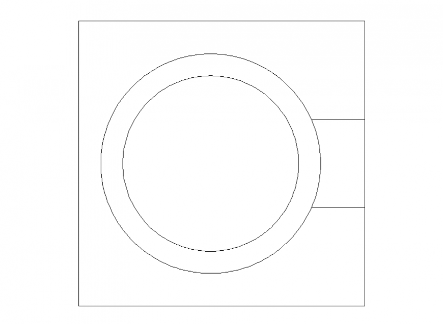 Planning of square shape sink detail dwg file